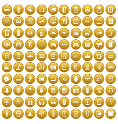 100 adjustment icons set gold vector