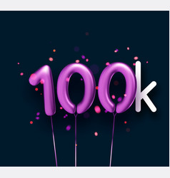 100k sign violet balloons with threads on black vector