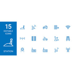 15 station icons vector