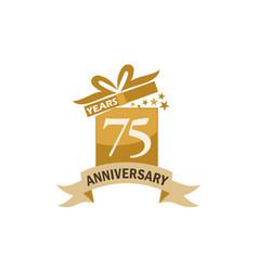 75 years gift box ribbon anniversary vector image