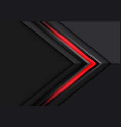 Abstract red light grey arrow direction on dark vector