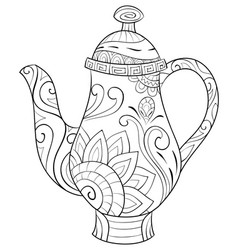 adult coloring bookpage a cute kettle image vector image
