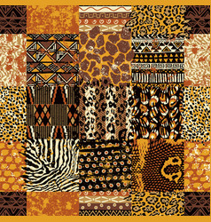 african fabric and wild animal skins patchwork vector image