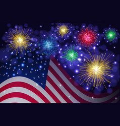 American flag and independence day fireworks vector