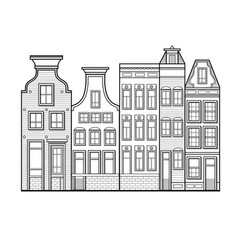 Amsterdam houses style netherlands vector