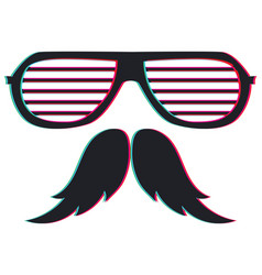 Anaglyph effect on glasses and moustache vector