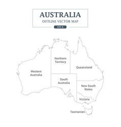 Australia map outline high detail separated vector