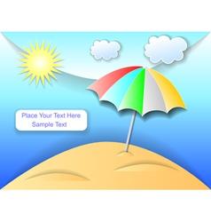 Beach with an umbrella vector