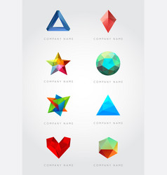 big set trendy crystal triangulated gem logo vector image