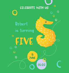 birthday bacute card with sea horse number five vector image