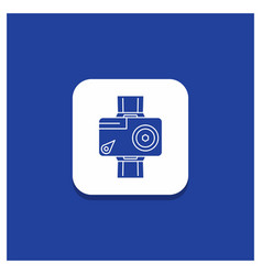 blue round button for camera action digital video vector image