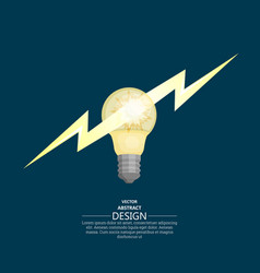 bulb badge with lightning flash vector image