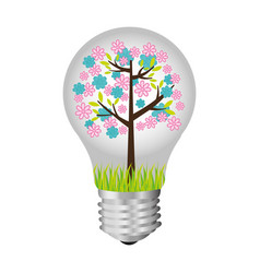 bulb with tree inside icon vector image