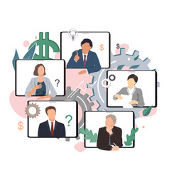 Business conference video call remote project vector