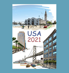 Calendar cover usa 2021 year vector