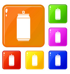 Can icons set color vector