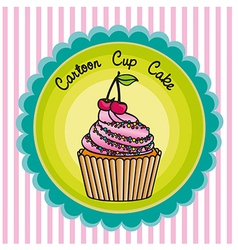 Cartoon cupcakes label over background lines vector