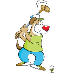 Cartoon dog playing golf vector image