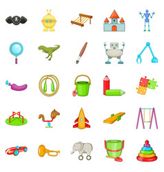 cheerful toy icons set cartoon style vector image