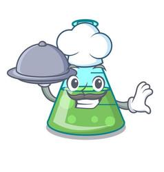 Chef with food science beaker mascot cartoon vector