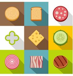 chopped food icons set flat style vector image
