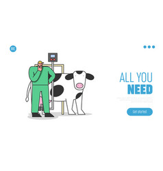 Concept dairy production website landing page vector