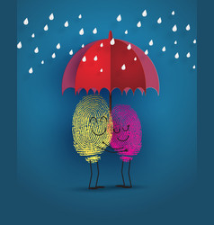 concept of love with fingerprint vector image