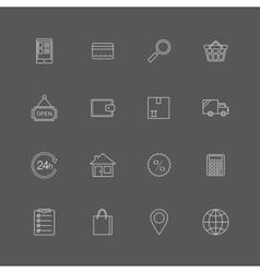 Contour internet shopping icons set vector image