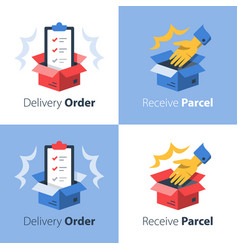 Convenient delivery open box and hand vector