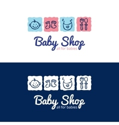 cute baby shop logo in doodle style Kids vector image