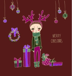 Cute Christmas card in vector image