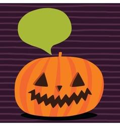 Cute funny Halloween pumpkin with bubble speech vector