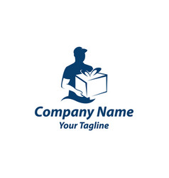 delivery logo template delivery man holding gift vector image