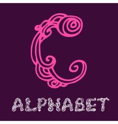 Doodle hand drawn sketch alphabet Letter C vector