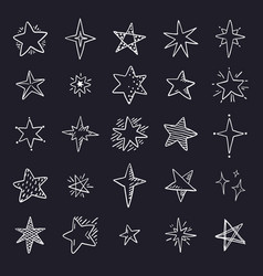 doodle stars on black background cute pen sketch vector image