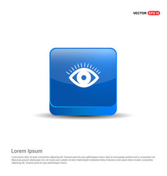 eye icon - 3d blue button vector image