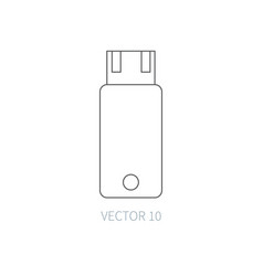 flat line computer part icon - flash drive vector image