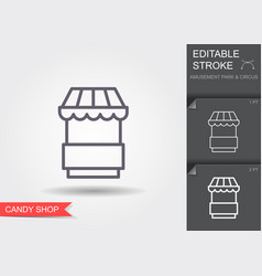 food kiosk line icon with editable stroke vector image