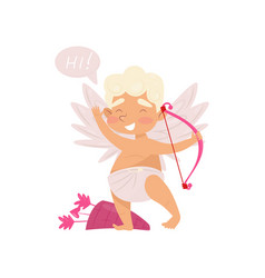 friendly little angel waving hand and saying hi vector image