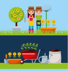Gardener with cute garden vector