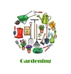 Gardening banners sketch vector
