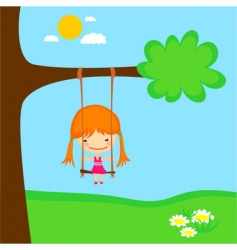 girl swinging vector image