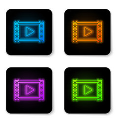 glowing neon play video icon isolated on white vector image