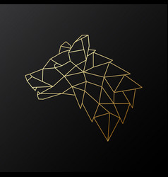 golden geometric wolf head isolated vector image