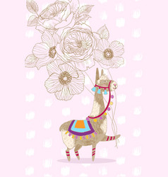 Greeting card design cheerful lama with vector