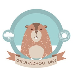 Groundhog dayMarmot in label isolated on white vector