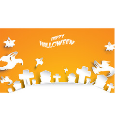 halloween background with ghost and cemetery vector image
