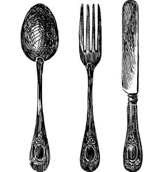 Hand drawing a set cutlery vector