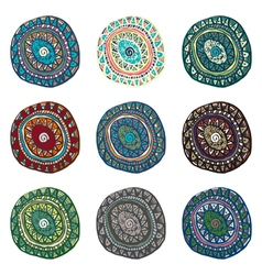 Hand drawn colorful Indian art ornaments in boho vector image