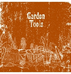 Hand drawn vintage poster with gardening tools vector image